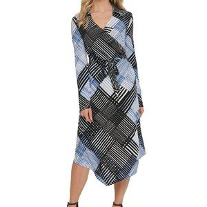 NWT DKNY Faux-Wrap Midi Dress Blue Stripe